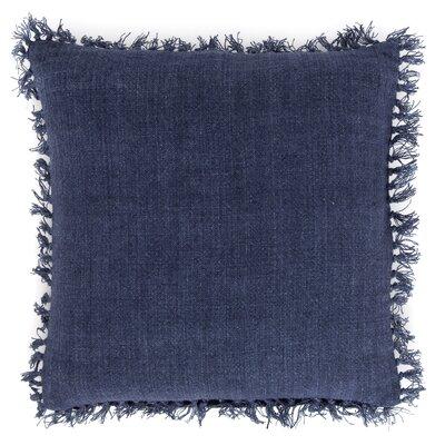 Laundered Linen Throw Pillow Color: Indigo