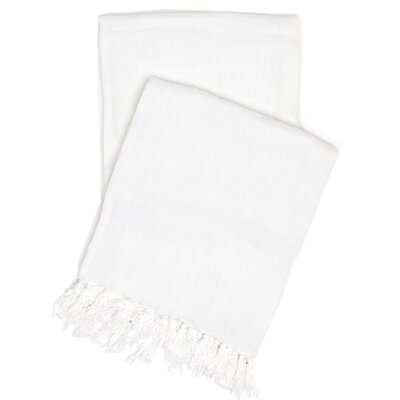 Laundered Linen Throw Color: White