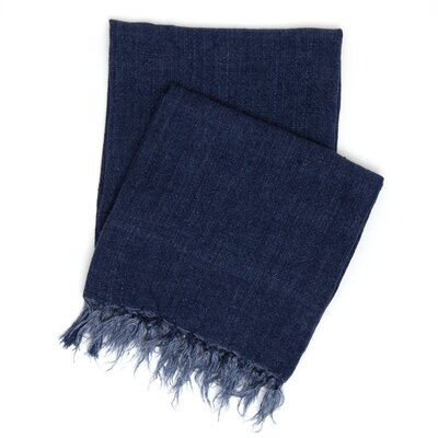 Laundered Linen Throw Color: Indigo