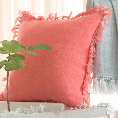 Laundered Linen Throw Pillow Color: Coral