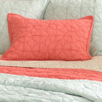 Marina Quilted Sham Size: European, Color: Coral