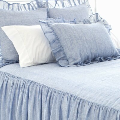 Chambray Savannah Linen Bedspread Size: King, Color: French Blue
