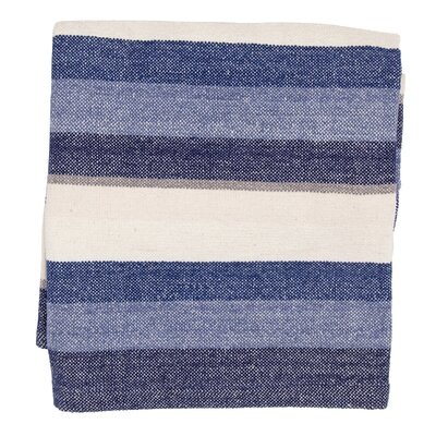 Montego Stripe Chenille Cotton Throw Blanket Color: Indigo