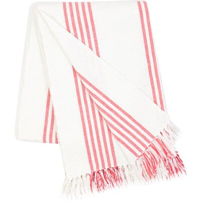 Ibiza Cotton Throw Blanket Color: Coral