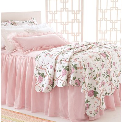 Savannah Linen Gauze Blush Bed Skirt Size: Twin