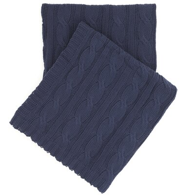 Comfy Cable Knit Cotton Throw Color: Indigo