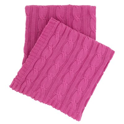 Comfy Cable Knit Cotton Throw Color: Fuchsia