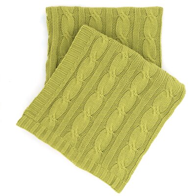 Comfy Cable Knit Cotton Throw Color: Green