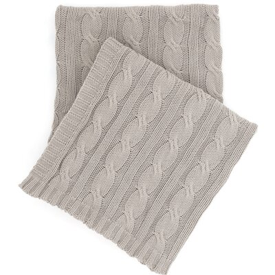Comfy Cable Knit Cotton Throw Color: Pearl Gray