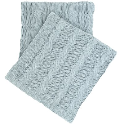 Comfy Cable Knit Cotton Throw Color: Sky