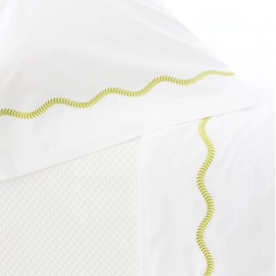 Petite Vine Cotton Flat Sheet Color: Green, Size: King