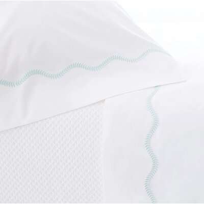 Petite Vine Cotton Flat Sheet Size: Queen, Color: Sky