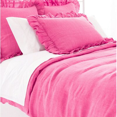 Stone Washed Duvet Cover Size: Queen, Color: Fuchsia