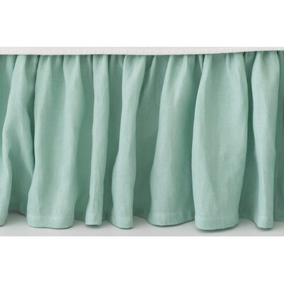 Stone Washed Paneled Bed Skirt Size: Twin, Color: Sky