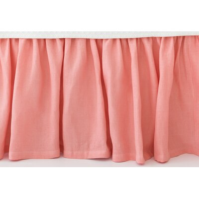 Stone Washed Paneled Bed Skirt Size: King, Color: Coral