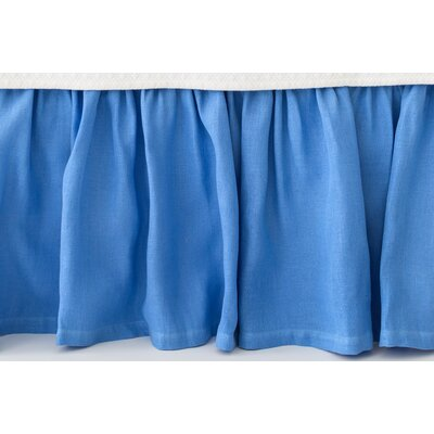 Stone Washed Paneled Bed Skirt Size: King, Color: French Blue