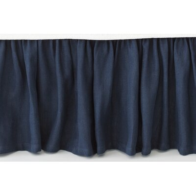 Stone Washed Paneled Bed Skirt Size: King, Color: Indigo