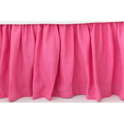 Stone Washed Paneled Bed Skirt Size: King, Color: Fuchsia