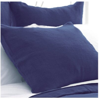 Stone Washed Sham Size: King, Color: Indigo