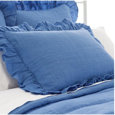Stone Washed Ruffled Sham Size: European, Color: French Blue