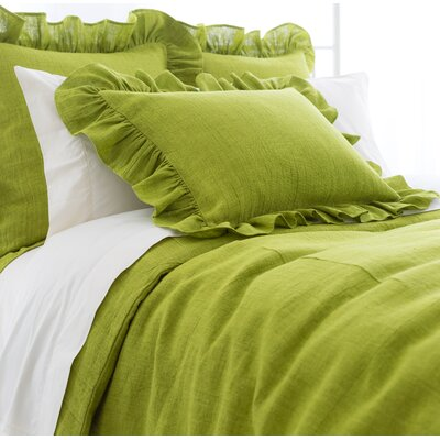 Stone Washed Ruffled Sham Size: European, Color: Green