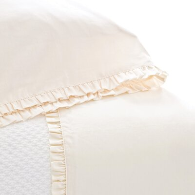 Classic Ruffle 200 Thread Count Sheet Set Size: King, Color: Ivory