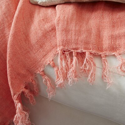 Laundered Linen Throw Color: Coral