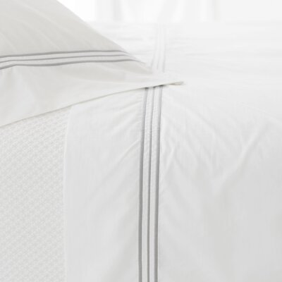 Trio 400 Thread Count 100% Cotton Flat Sheet Size: Full/Queen, Color: Pearl Gray