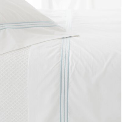 Trio 400 Thread Count 100% Cotton Flat Sheet Size: Full/Queen, Color: Sky