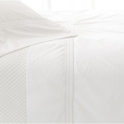 Trio 400 Thread Count 100% Cotton Flat Sheet Size: Full/Queen, Color: White