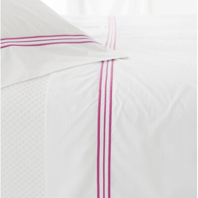 Trio 400 Thread Count 100% Cotton Flat Sheet Size: Twin, Color: Fuchsia