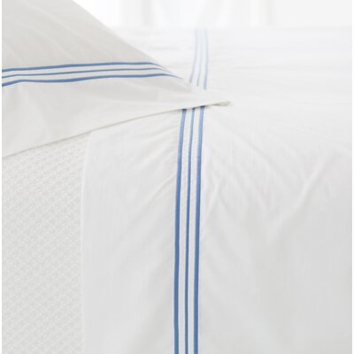 Trio 400 Thread Count 100% Cotton Flat Sheet Size: Full/Queen, Color: Indigo