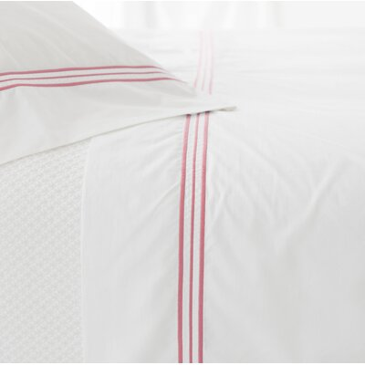Trio 400 Thread Count 100% Cotton Flat Sheet Size: Full/Queen, Color: Coral