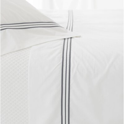 Trio 400 Thread Count 100% Cotton Flat Sheet Size: Full/Queen, Color: Shale