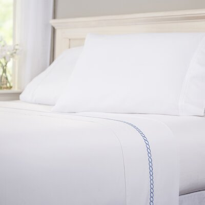 Helix 400 Thread Count 100% Cotton Flat Sheet Size: Twin, Color: French Blue