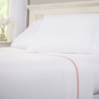 Helix 400 Thread Count 100% Cotton Flat Sheet Size: Twin, Color: Coral