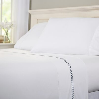 Helix 400 Thread Count 100% Cotton Flat Sheet Size: Queen, Color: Indigo