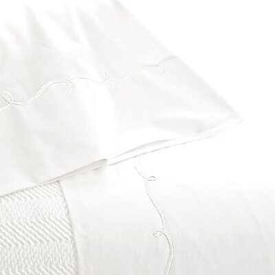 Embroidered Hem 200 Thread Count 100% Cotton Sheet Set Size: Queen, Color: White