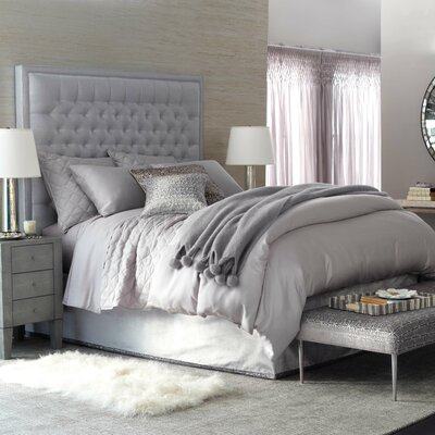 3 Piece Sequin Tipped Bed Skirt Set Size: Full/Queen, Color: Gray