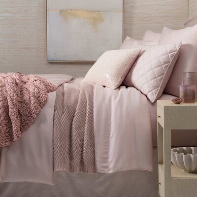 3 Piece Sequin Tipped Bed Skirt Set Color: Slipper Pink, Size: Twin