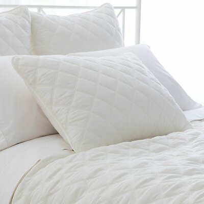 Tencel Quilted Silken Coverlet Color: Ivory, Size: King