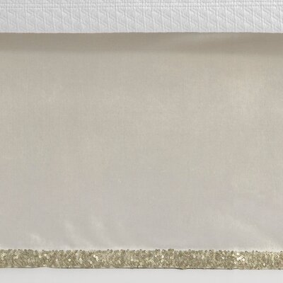 3 Piece Sequin Tipped Bed Skirt Set Size: King, Color: Ivory/Sand