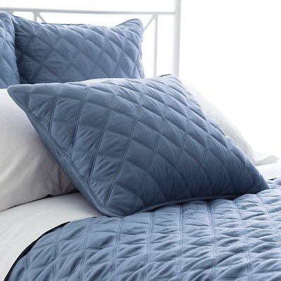 Tencel Quilted Silken Sham Size: King, Color: Storm Blue