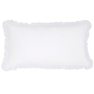 Wruffle Matelasse Cotton Lumbar Pillow Color: White