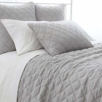 Tencel Quilted Silken Coverlet Size: Twin, Color: Gray
