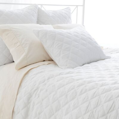 Tencel Quilted Silken Coverlet Size: King, Color: White