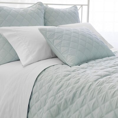 Tencel Quilted Silken Coverlet Size: King, Color: Robins Egg Blue