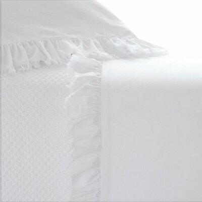 Laundered Ruffle 200 Thread Count 100% Cotton Sheet Set Size: Twin