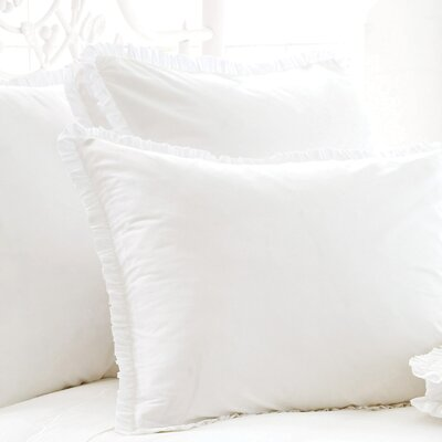Classic Ruffle 200 Thread Count Boxed Sham Size: Euro, Color: White
