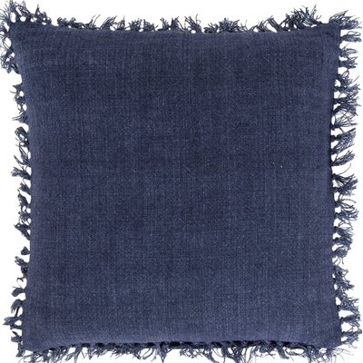 Laundered Linen Throw Pillow Color: Indigo